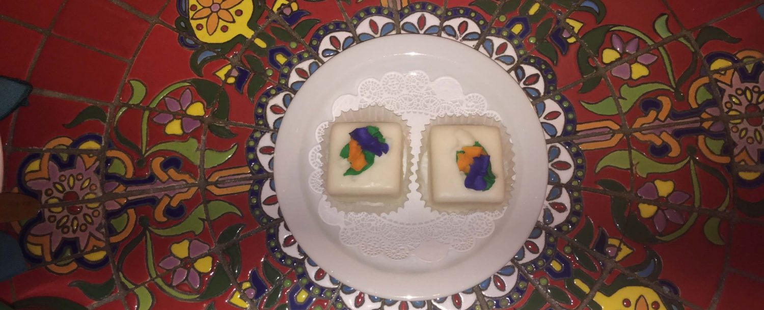 Mardi Gras colors on petit fours in New Orleans!